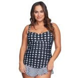 Plus Size Mazu Swim Hip Minimizer Shirred Skater Swimdress
