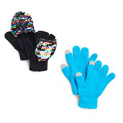 Girls 4-16 SO® Reversible Sequin Flip-Top Mittens & Tech Touch Gloves Set