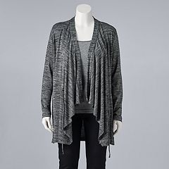 Plus Size Simply Vera Vera Wang Draped Open-Front Cardigan