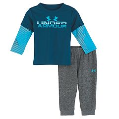 Baby Boy Under Armour 2-pc. Mock Layer Horizon Logo Top & Pants Set