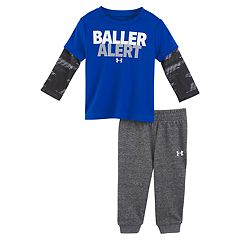 Baby Boy Under Armour 2-pc. 'Baller Alert' Mock Layer Top & Pants Set
