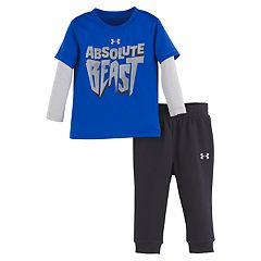 Baby Boy Under Armour 'Absolute Beast' Graphic Mock Layer Tee & Pants Set