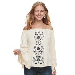 Juniors' Hint of Mint Floral Off-the-Shoulder Top