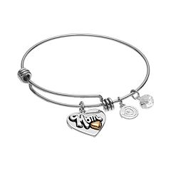 love this life 'Mom' Heart Charm Bangle Bracelet