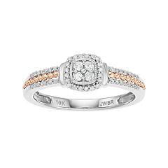 Two Tone 10k Gold 1/5 Carat T.W. Diamond Ring