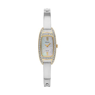 Seiko Women's Crystal Stainless Steel Solar Half-Bangle Dress Watch
