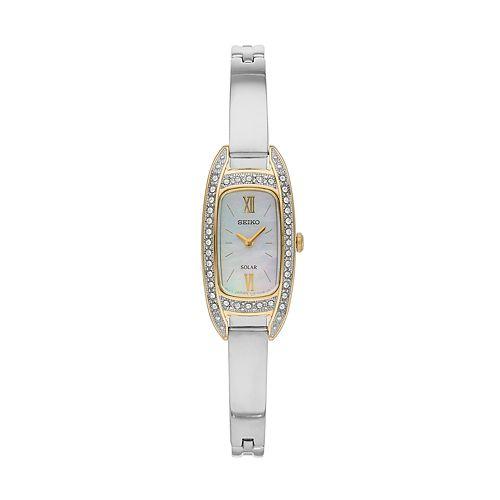 Seiko Women's Crystal Stainless Steel Solar Half-Bangle Dress Watch