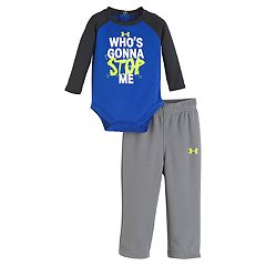 Baby Boy Under Armour 'Who's Gonna Stop Me' Bodysuit & Logo Pants Set