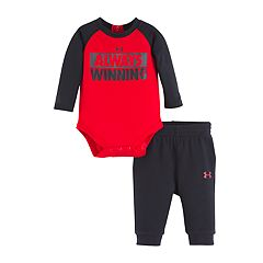 Baby Boy Under Armour 'Always Winning' Raglan Bodysuit & Pants Set