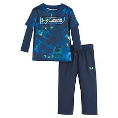 Baby Boy Under Armour Mock Layer Top & Pants Set