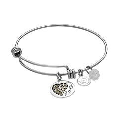 love this life Marcasite & Crystal 'Love' Charm Bangle Bracelet