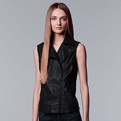 Women's Simply Vera Vera Wang Moto Faux-Leather Vest