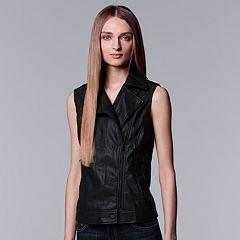 Women's Simply Vera Vera Wang Moto Faux-Leather Vest