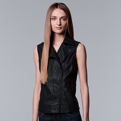 0f0569a5e4b84 Women s Simply Vera Vera Wang Moto Faux-Leather Vest