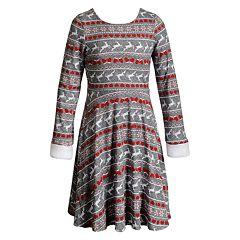 Girls 7-16 Emily West Reversible Faux-Fur Trim Holiday Dress