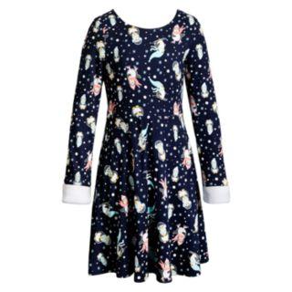 Girls 7-16 Emily West Reversible Faux-Fur Trim Dress