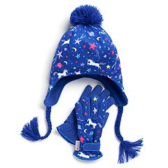 Girls 4-16 SO® Unicorn Galaxy Heidi Hat & Gloves Set