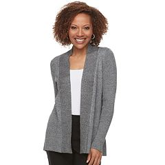 Petite Dana Buchman Ribbed Long Sleeve Cardigan
