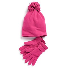 Girls 4-16 SO® Fleece Hat & Gloves Set