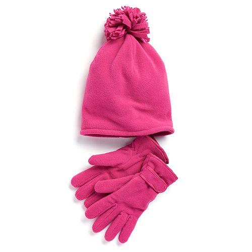 Girls 4-16 SO® Fleece Hat & Gloves Set