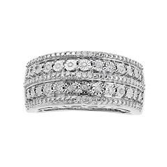 Sterling Silver 1/10 Carat T.W. Diamond Double Row Ring