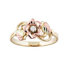 Black Hills Gold Tri-Tone Diamond Accent Flower Ring