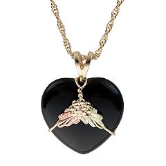 Black Hills Gold Tri-Tone Black Onyx Heart Pendant Necklace