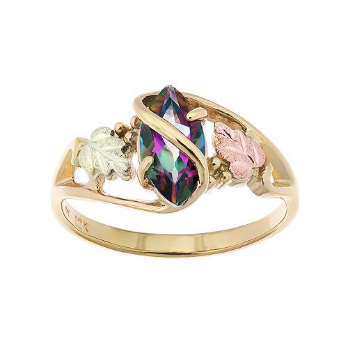 Black Hills Gold Tri-Tone Mystic Fire Topaz Ring