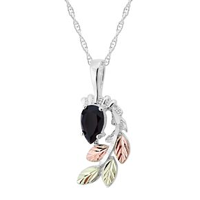 Black Hills Gold Tri-Tone Onyx Pendant Necklace in Sterling Silver