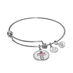 love this life Crystal 'Faith Hope Love' Cross Charm Bangle Bracelet