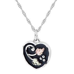 Black Hills Gold Tri-Tone Black Powder Coat Heart Pendant Necklace in Sterling Silver