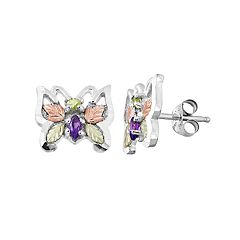 Black Hills Gold Tri-Tone Amethyst & Peridot Butterfly Stud Earrings in Sterling Silver