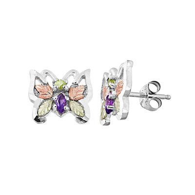 Black Hills Gold Tri-Tone Amethyst & Peridot Butterfly Stud Earrings in Sterling Silver