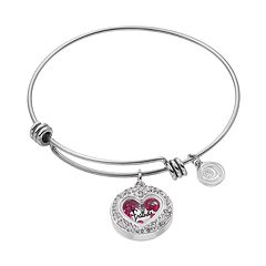 love this life Crystal Mother Daughter Floating Charm Bangle Bracelet
