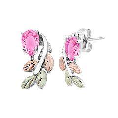 Black Hills Gold Tri-Tone Pink Cubic Zirconia Stud Earrings in Sterling Silver