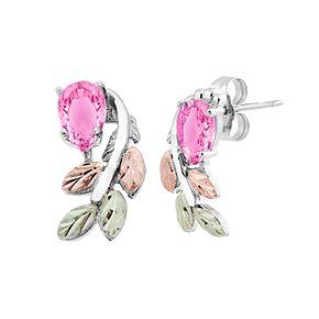 Black Hills Gold Tri-Tone Pink Cubic Zirconia Stud Earrings in Sterling Silver