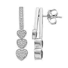 Sterling Silver 1/6 Carat T.W. Diamond Triple Heart Front-Back Earrings