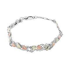 Black Hills Gold Tri-Tone Leaves & Vines Bracelet in Sterling Silver