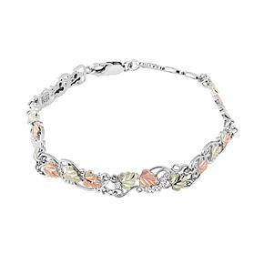 Black Hills Gold Tri-Tone Leaves & Vines Bracelet in Sterling Silver