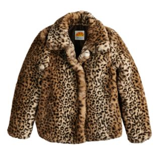 Girls 4-14 C&C Faux-Fur Leopard Midweight Jacket