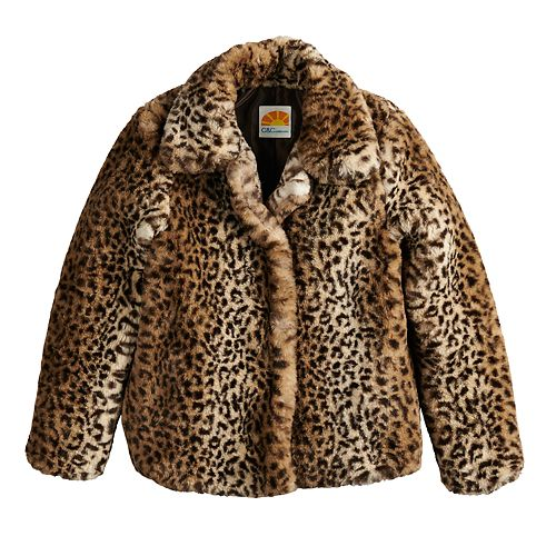 Girls 4-14 C&C Faux-Fur Leopard Midweight Jacket