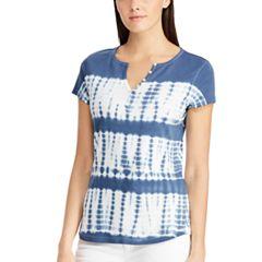 Women's Chaps Button Accent Tie-Dye Tee