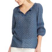 Women's Chaps Print Lace-Hem Peasant Top