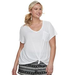 bcff5bf4cf5f1 Juniors' Plus Size SO® Relaxed Pocket Tee