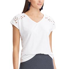 Women's Chaps Embroidered Cutout Tee