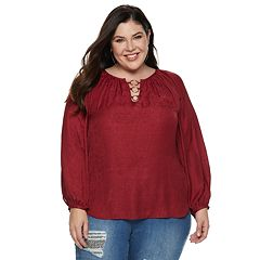 Plus Size Jennifer Lopez O-Ring Satin Peasant Top