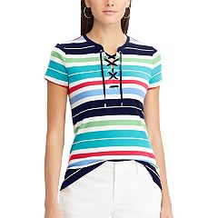 Women's Chaps Lace-Up Cotton Tee
