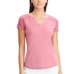 Women's Chaps Lace Sleeve Henley Tee