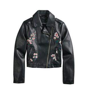 Girls 4-14 Me Jane Floral Embroidered Lightweight Moto Jacket