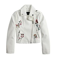 Girls 4-14 Me Jane Floral Embroidered Lightweight Moto Jacket